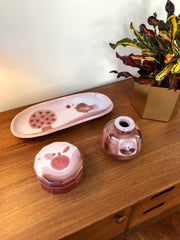 Decorative Ceramic Set with Tray, Vase and Box by Frères Cloutier (circa 1970s)
