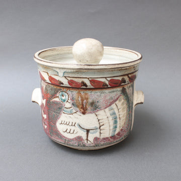 Decorative Vintage Ceramic Pot with Lid by Gustave Reynaud - Le Mûrier (circa 1950s)