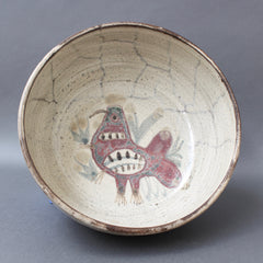 Mid-Century French Ceramic Decorative Bowl by Gustave Reynaud for Le Mûrier (circa 1950s)