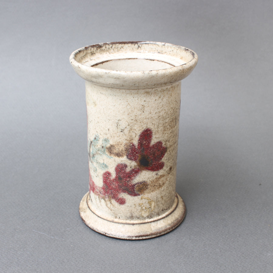 Small Ceramic Apothecary Jar by Gustave Reynaud for Le Mûrier (circa 1950s)