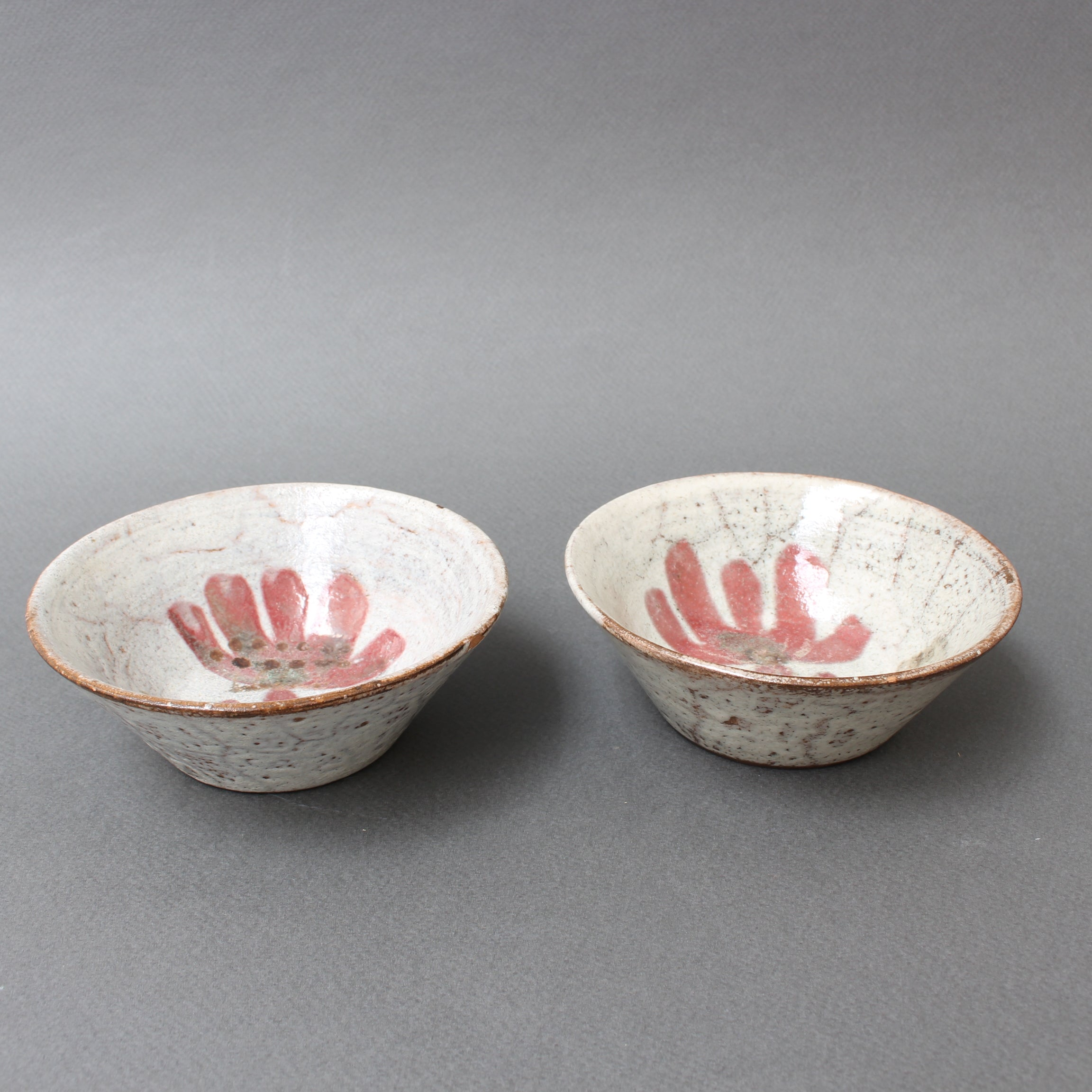 Pair of Small French Ceramic Bowls by Gustave Reynaud for Le Mûrier (circa 1950s)