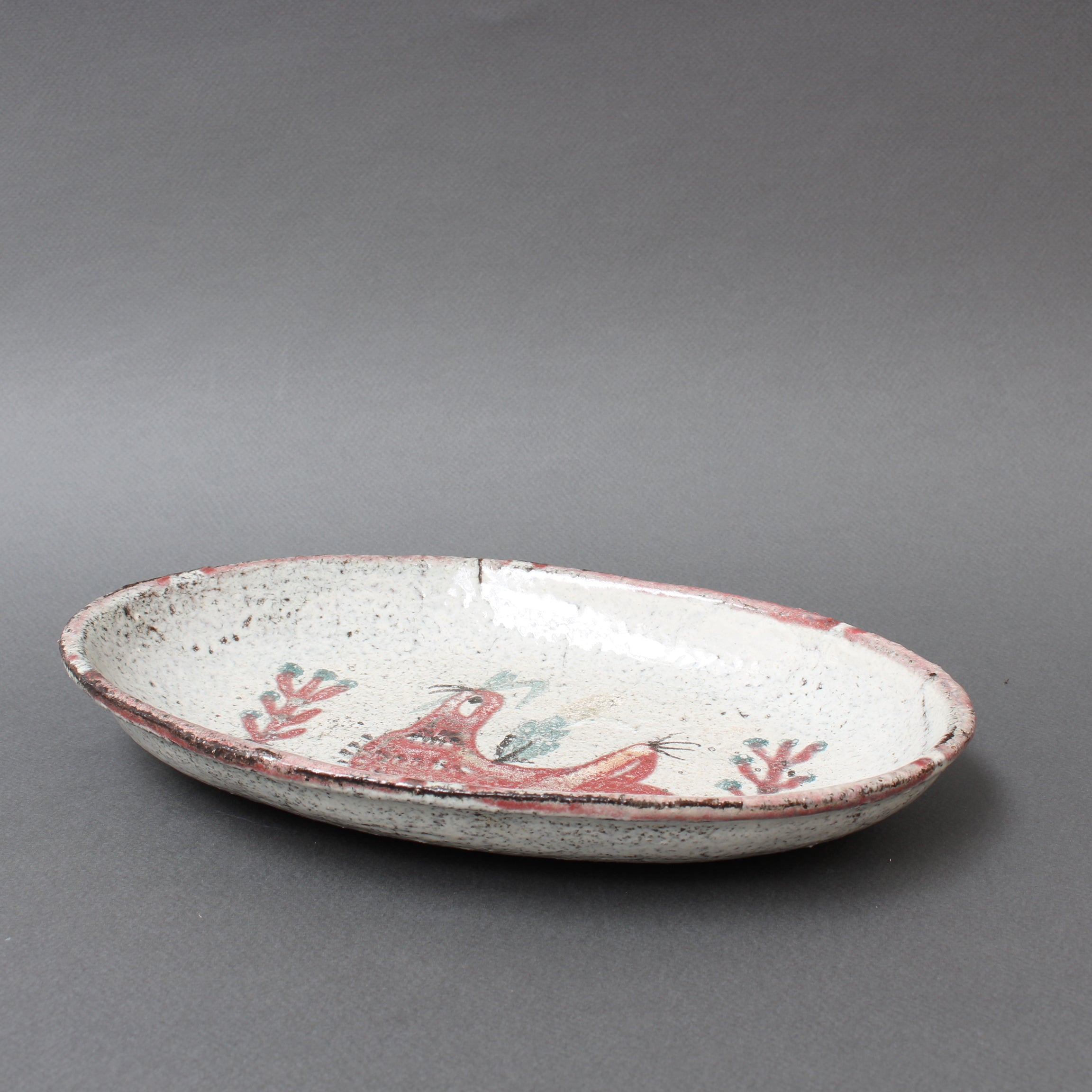 French Ceramic Rooster Motif Tray by Gustave Reynaud - Le Mûrier (circa 1950s)