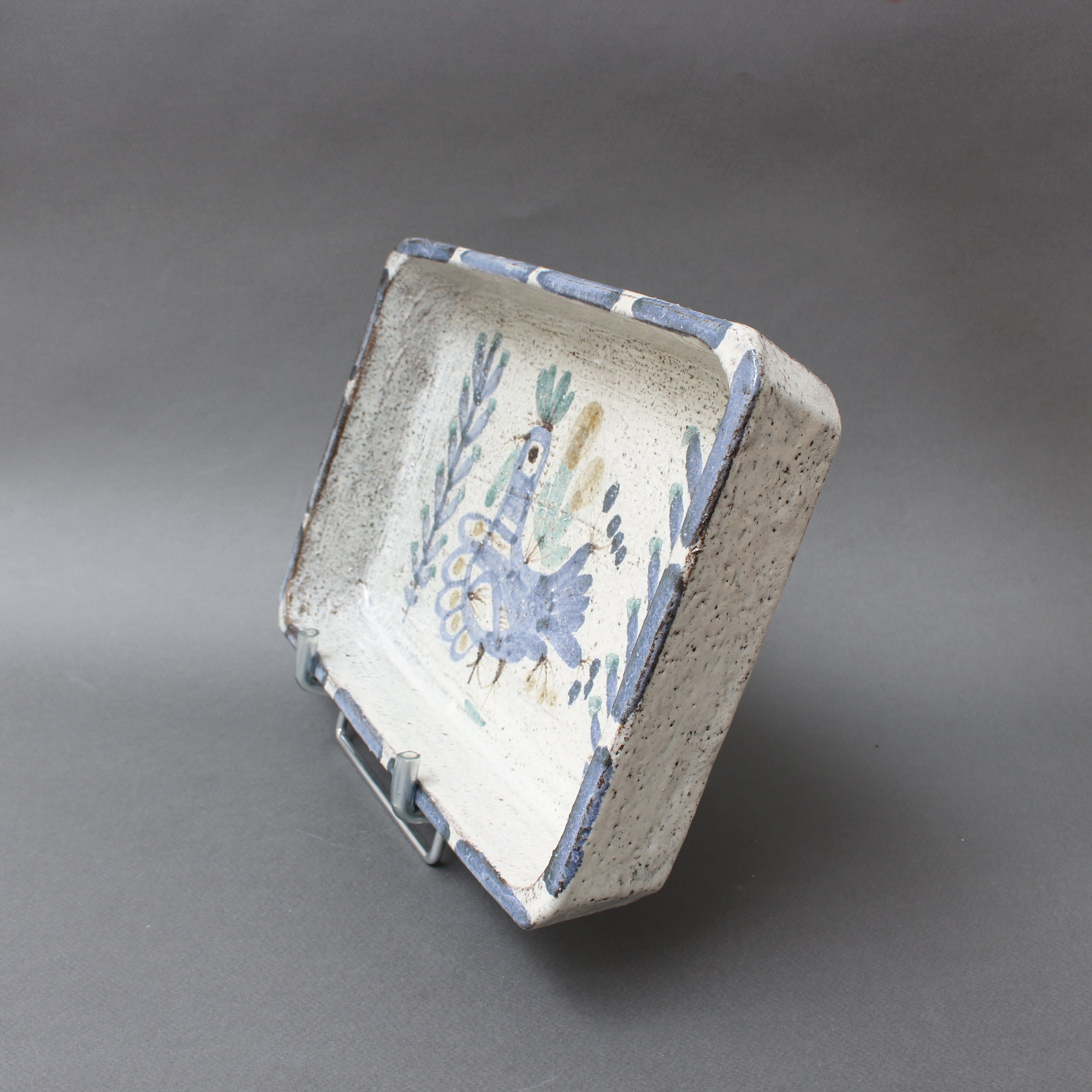Decorative Ceramic Rectangular Dish by Gustave Reynaud, Le Mûrier (circa 1950s)