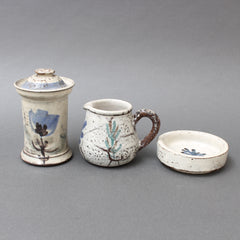 Set of Three French Ceramic Pieces by Gustave Reynaud for Le Mûrier (circa 1950s)