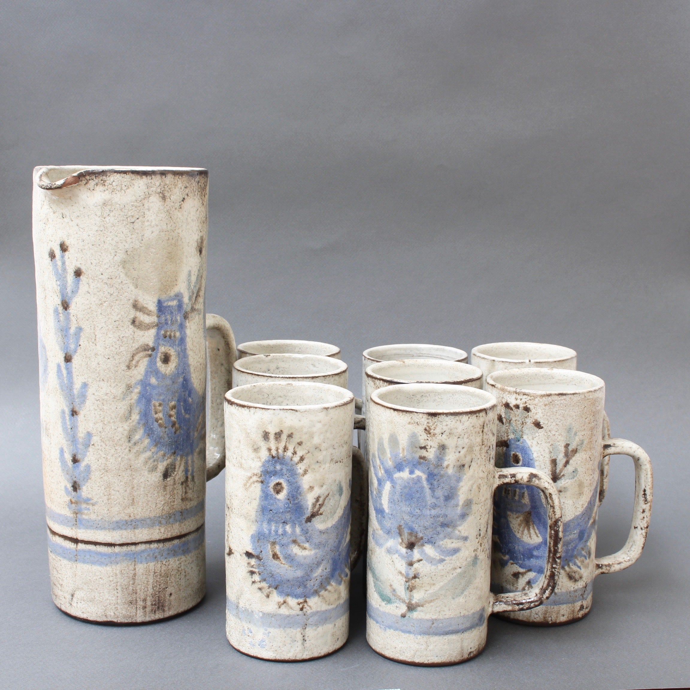 Ceramic Lemonade Service Set by Gustave Reynaud, Le Mûrier (circa 1950s)