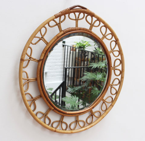 Mid-Century French Rattan Wall Mirror (circa 1960s)