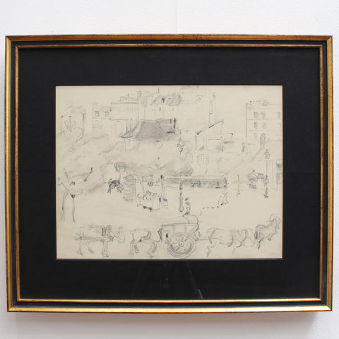 Set of Two Historical Pencil Drawings of Early 20th Century Paris (circa 1900)