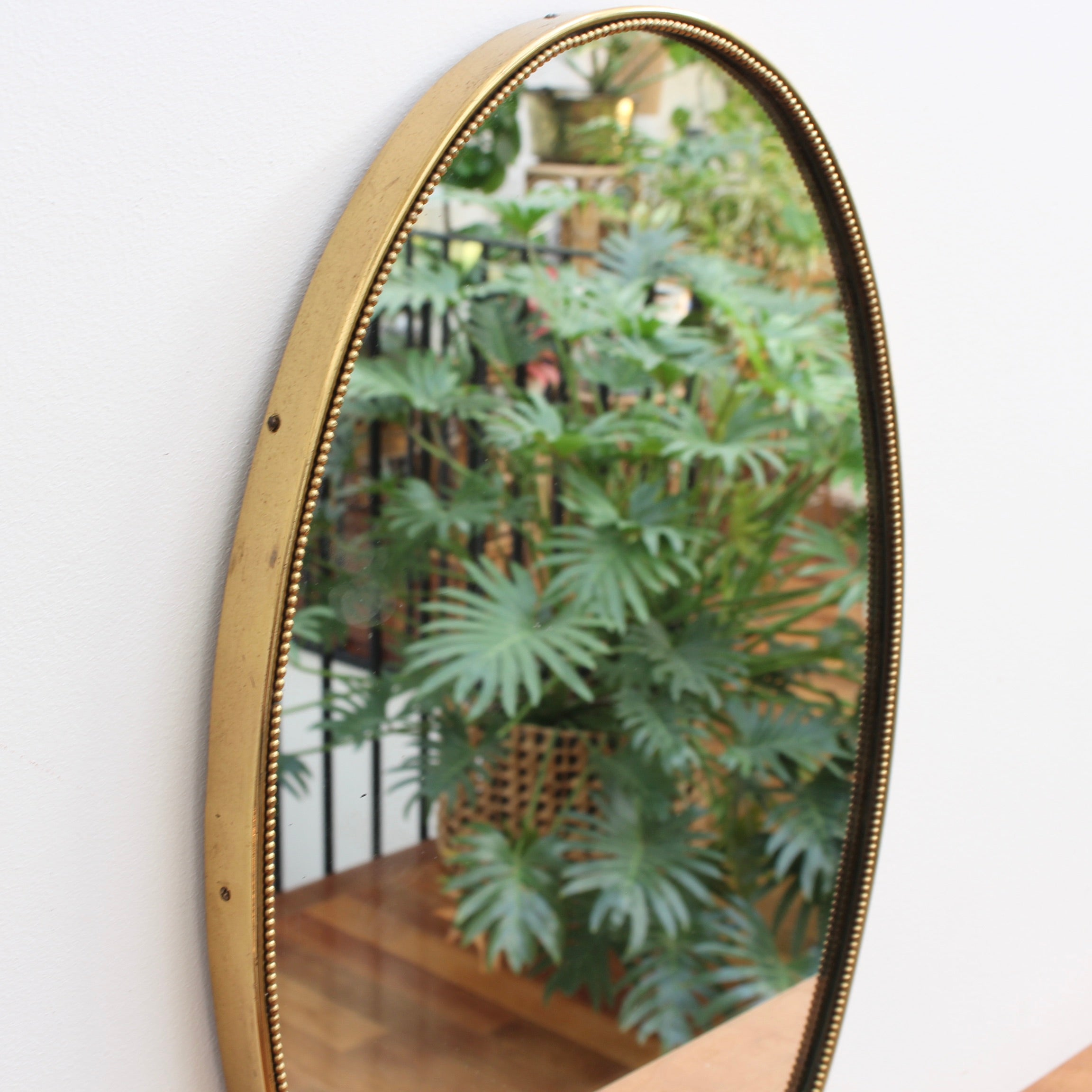 Mid-Century Italian Oblong-Shaped Wall Mirror with Beaded Brass Frame (circa 1950s)