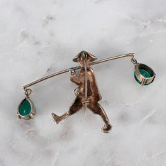 Sterling Silver Asian Water Carrier Brooch (c. 1970s)