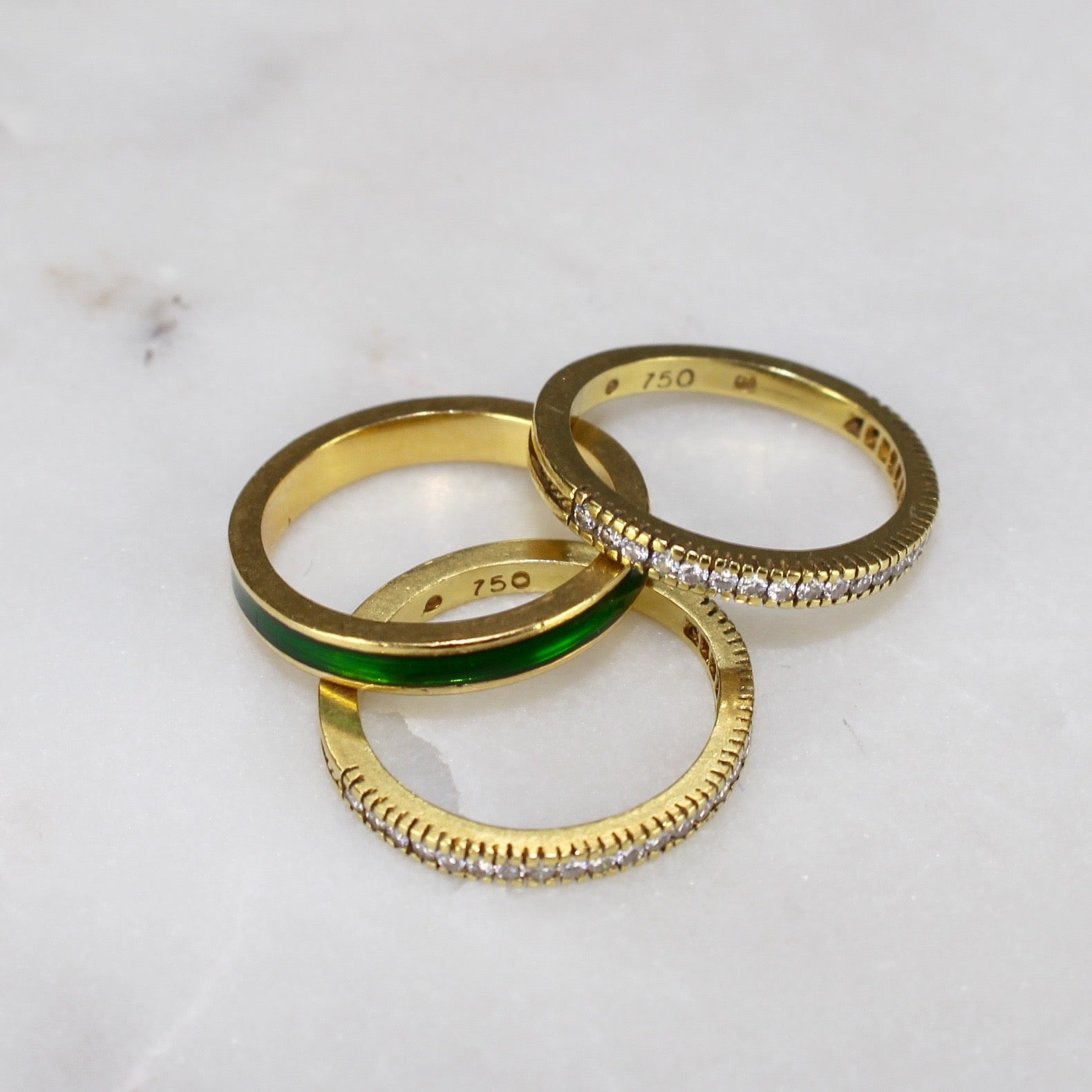 Stack Rings Enamel and Diamonds (c. 1990s)