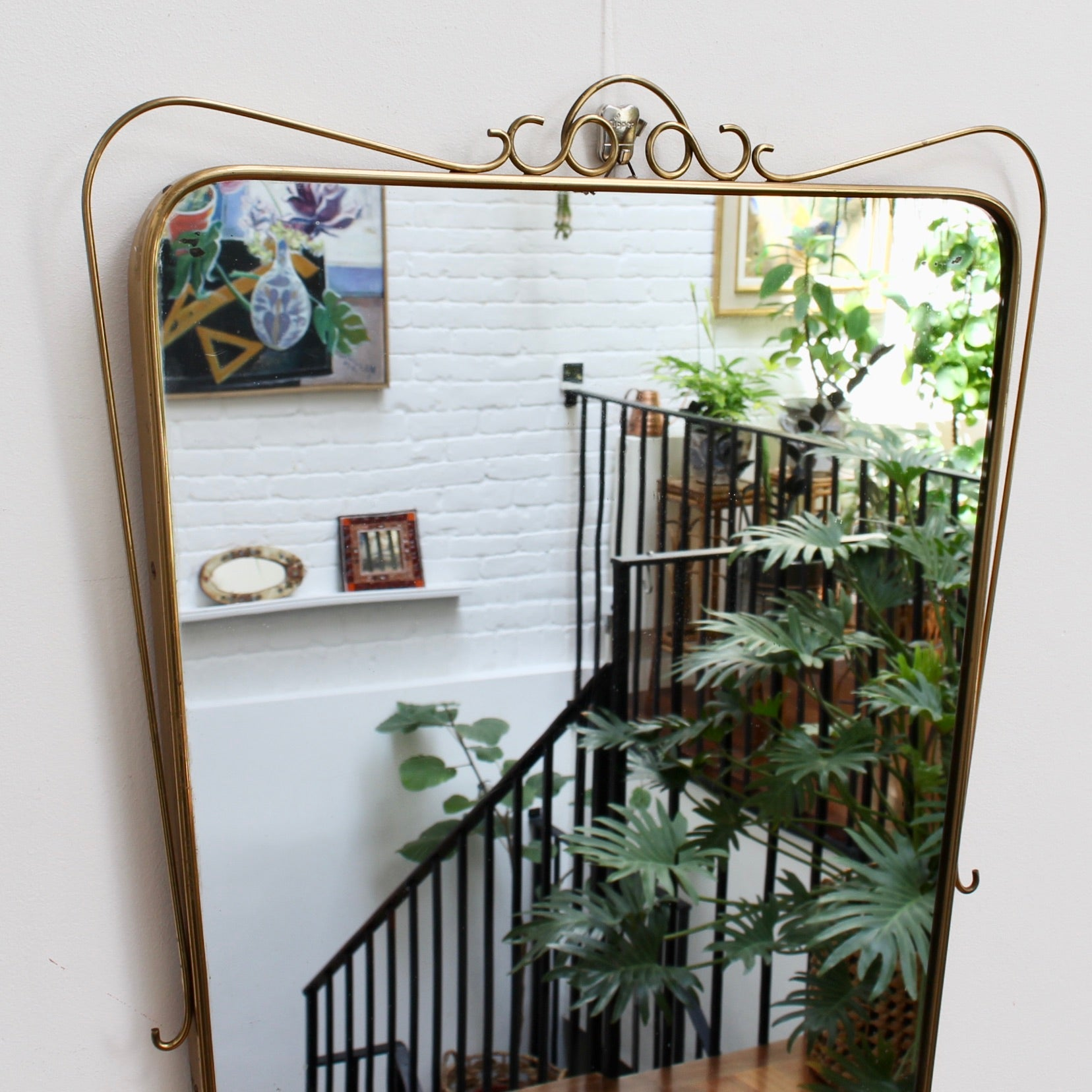 Mid-Century Italian Wall Mirror with Brass Frame and Decorative Surround (circa 1950s)