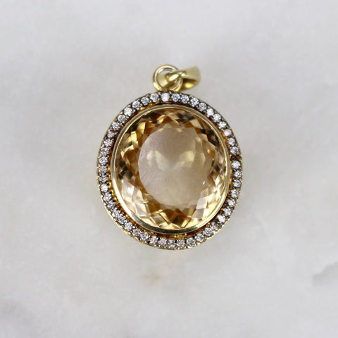 Pendant with Large Citrine and Cubic Zirconia Stones (c. 1990)