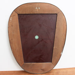 Mid-Century Egg-Shaped Italian Wall Mirror with Brass Frame (circa 1950s)