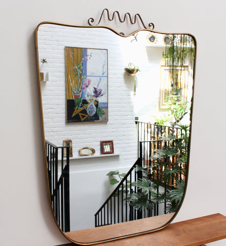 Mid-Century Italian Wall Mirror with Brass Frame and Crown Flourish (circa 1950s) - Large
