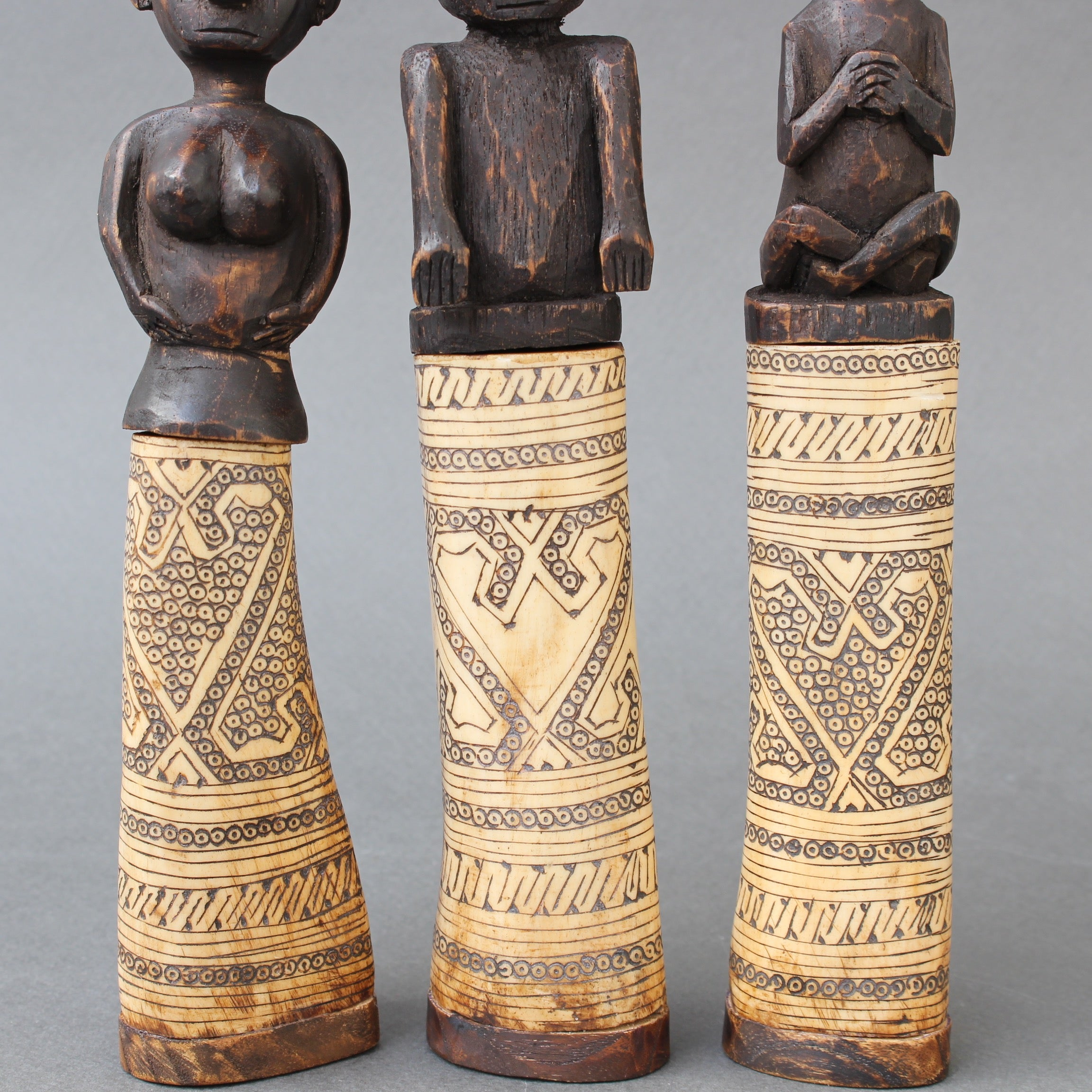 Set of Five Wood and Bone Lime Powder Holders for Betel Nut from W. Timor, Indonesia (circa 1940s - 60s)