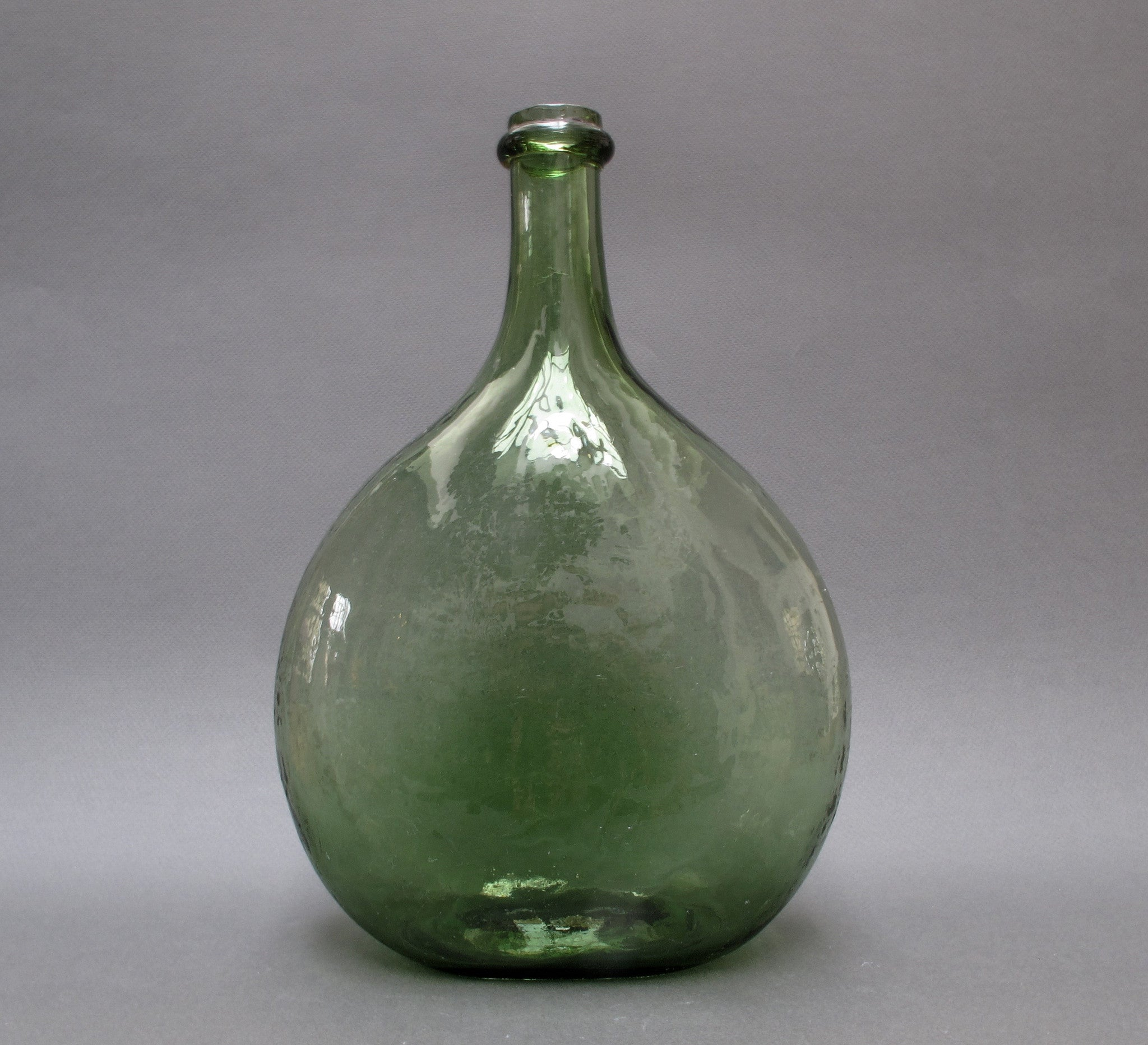 19th Century French Green Glass Wine Demijohn
