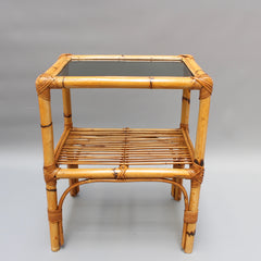 Italian Rattan and Bamboo Side Table (circa 1960s)