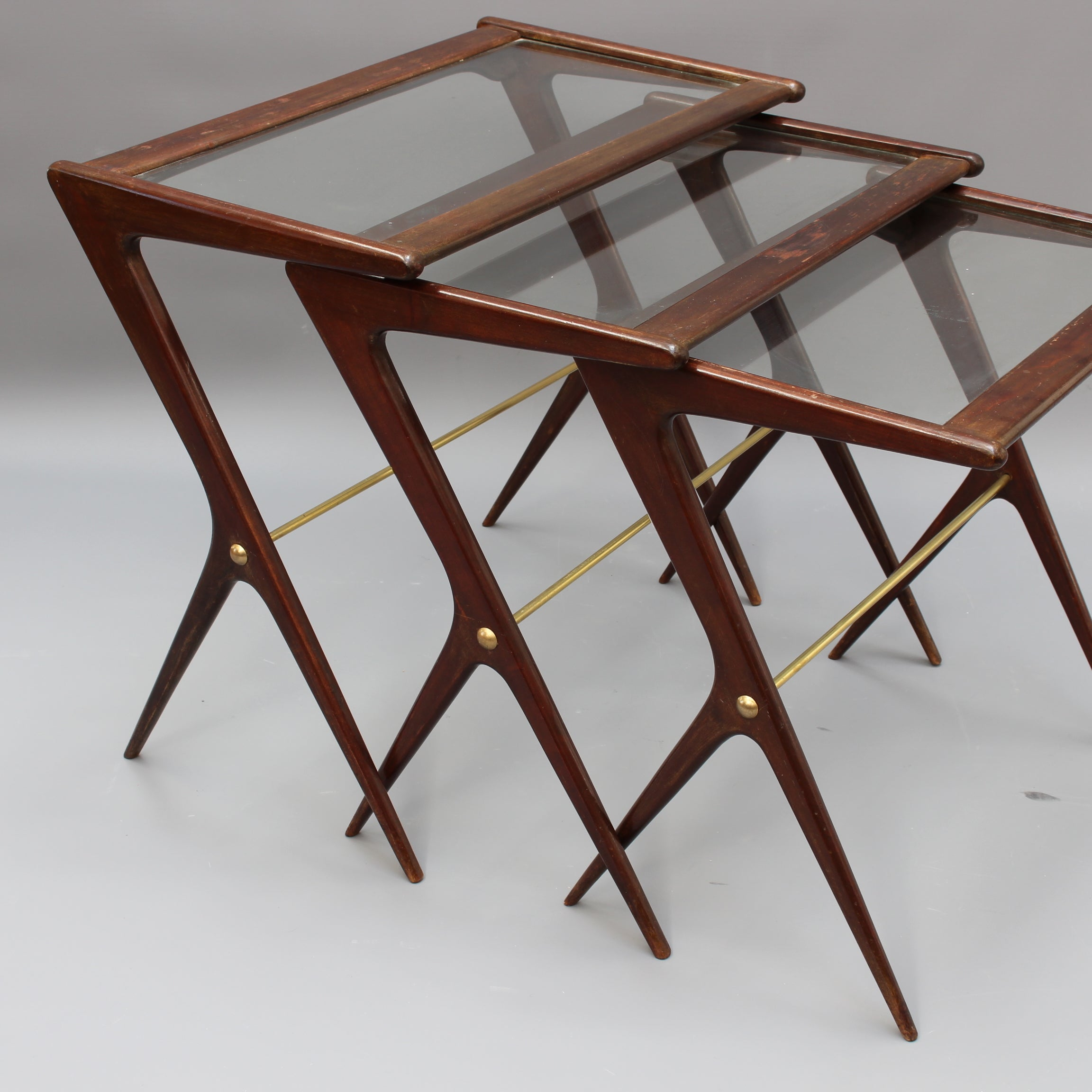 Set of Three Mid-Century Italian Nesting Tables (circa 1950s)