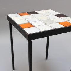 Mid-Century Ceramic Tiled Side Table by Mado Jolain (circa 1950s)