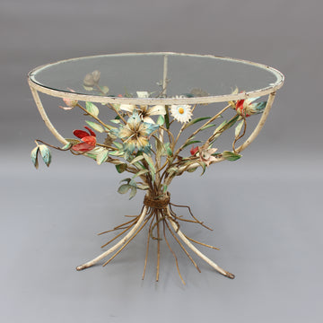 French Tôleware Side Table with Flower Bouquet Motif (circa 1950s)