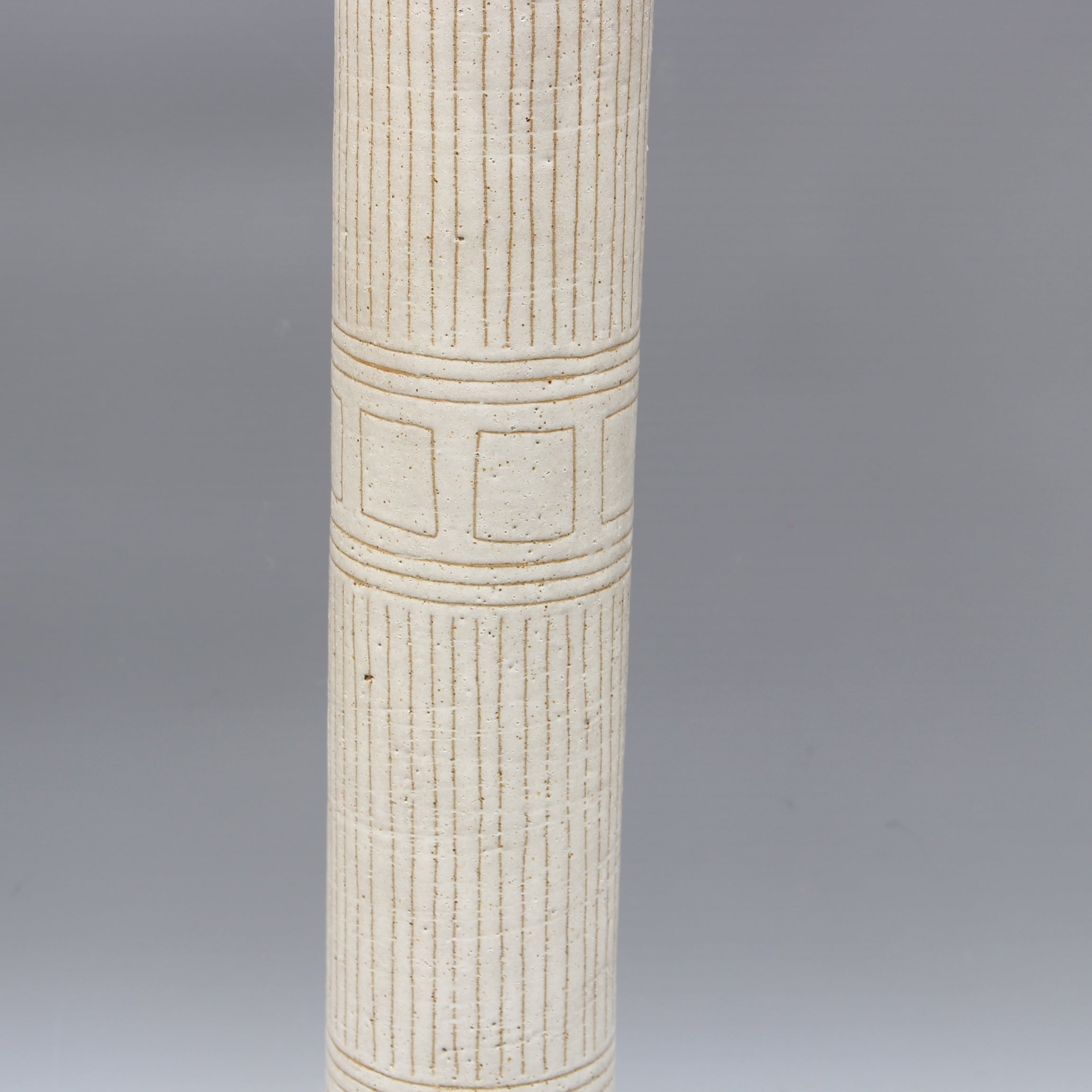 Italian Cylindrical Ceramic Vase by Bruno Gambone (circa 1970s) - Large