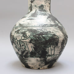 Mid-Century French Ceramic Vase with Elephant Motif by Jacques Blin (circa 1950s)