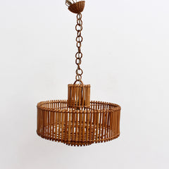 Mid-Century French Rattan Pendant Lamp with Chain (circa 1960s)
