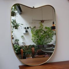 Mid-Century Italian Wall Mirror with Brass Frame (c. 1950s)