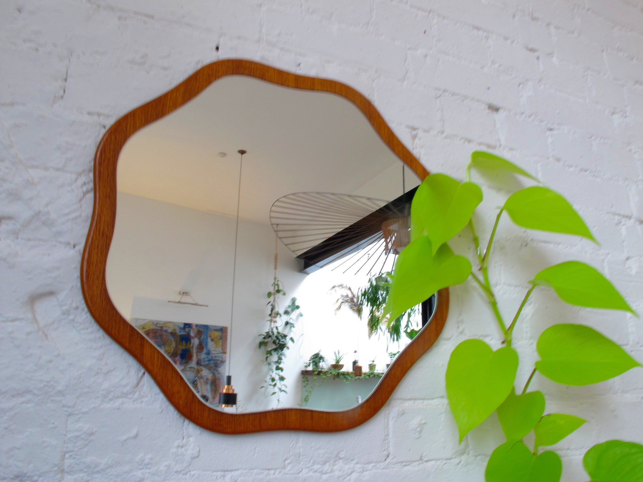 Mid-Century British Mirror Teak Wood Backing