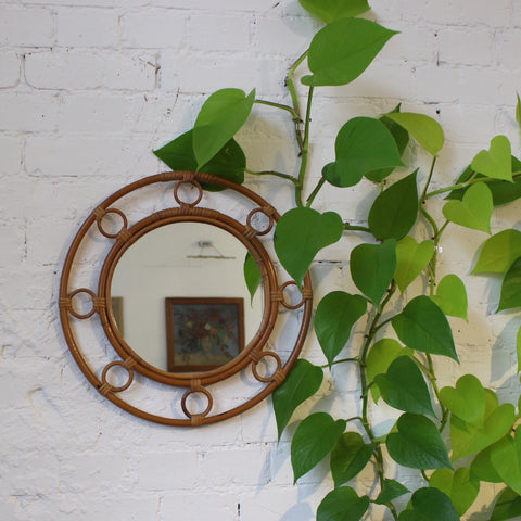 Mid-Century French Rattan and Bamboo Mirror (c. 1960s)