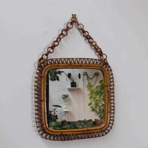 Italian Rattan and Bamboo Vintage Mirror (c. 1960s)