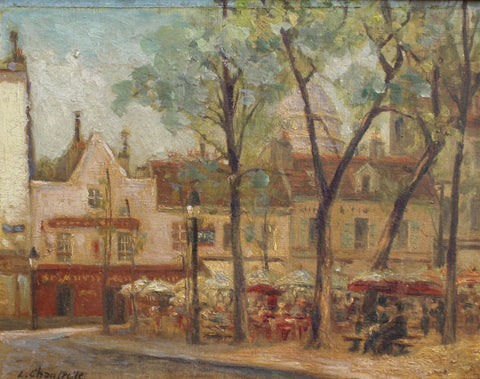 View of Place du Tertre in Montmartre Showing the Sacré-Cœur (Early 20th C) by L. Chantpelle