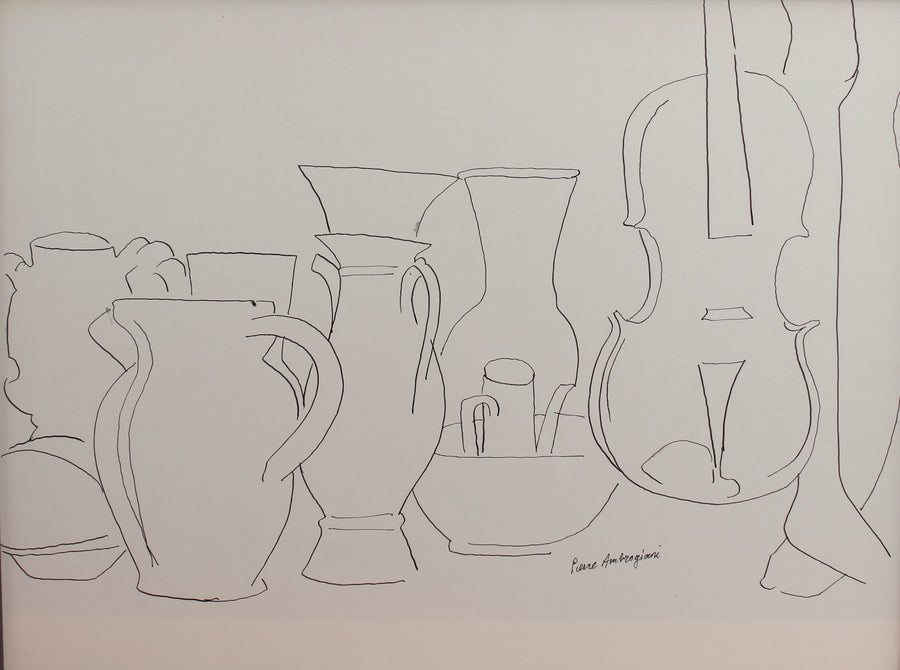 'Still Life with Vessels and Violin' by Pierre Ambrogiani (circa 1950s)
