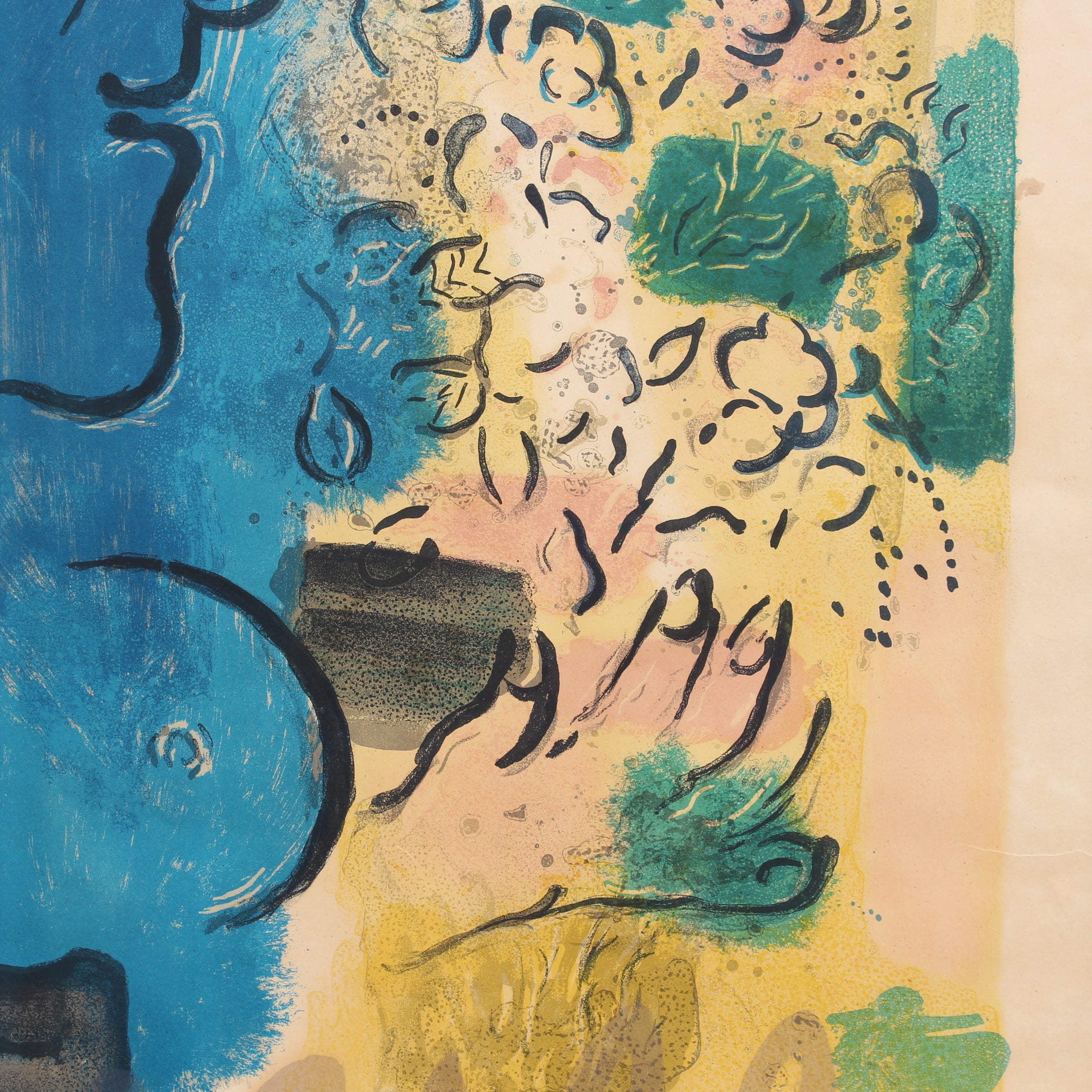 'Blue Profile' Lithograph Poster by Marc Chagall with Original Signature (1967)