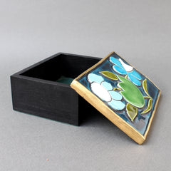 Jewellery Box with Decorative Ceramic Lid by François Lembo (circa 1960s)