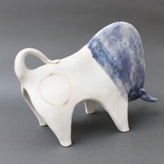 Decorative Ceramic Bull with Blue Glaze by Bruno Gambone (circa 1980s)
