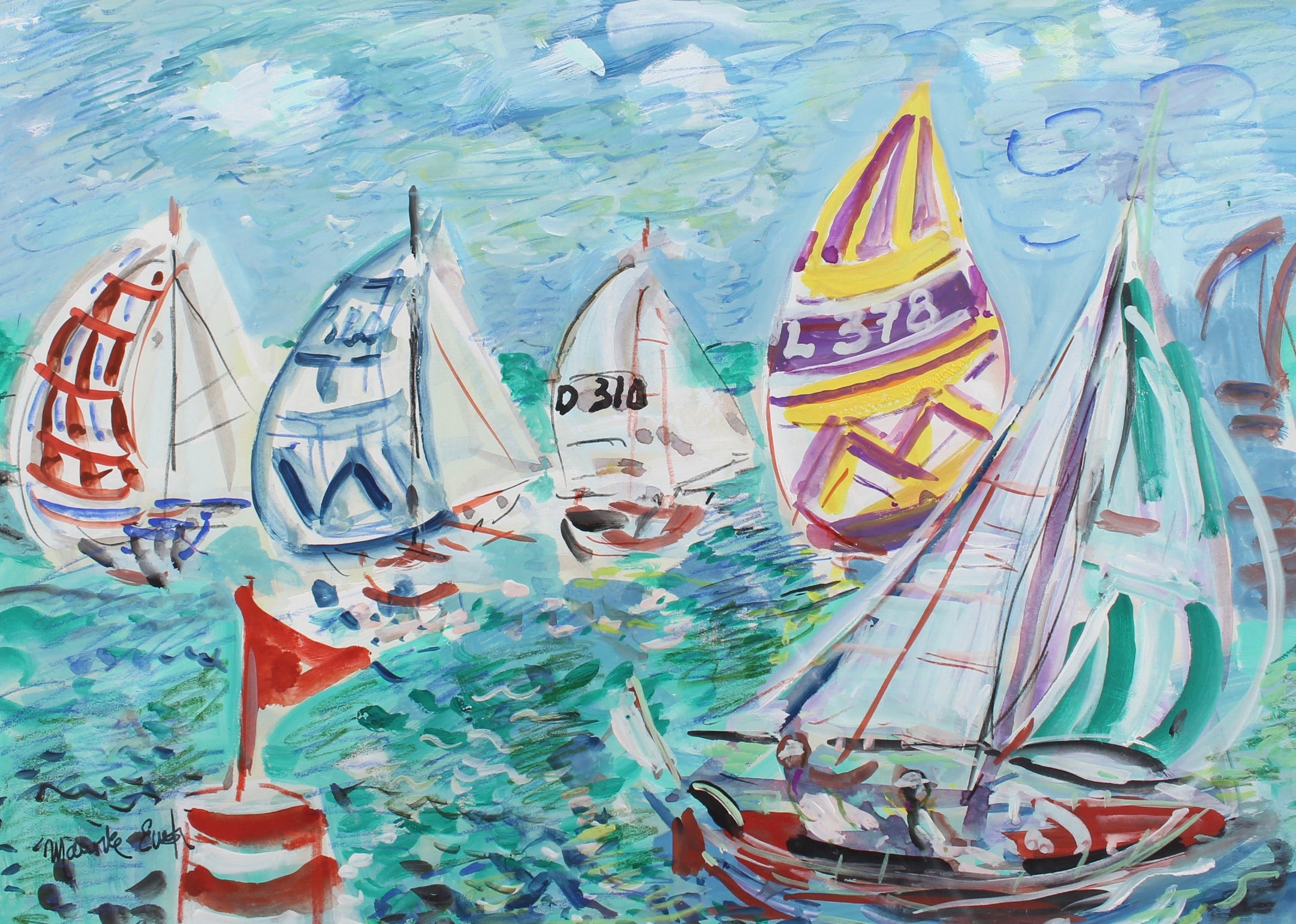'Spinnakers Out at La Trinité Regatta' by Maurice Empi (circa 1970s)