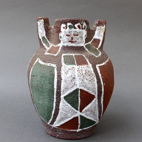 Mid-Century Ceramic Vase with Human Figure Motif by Accolay (circa 1950s)