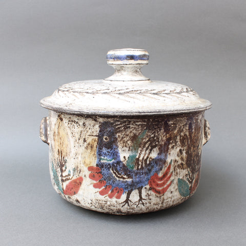 Decorative Ceramic Casserole Dish with Lid by Gustave Reynaud, Le Mûrier (circa 1950s)