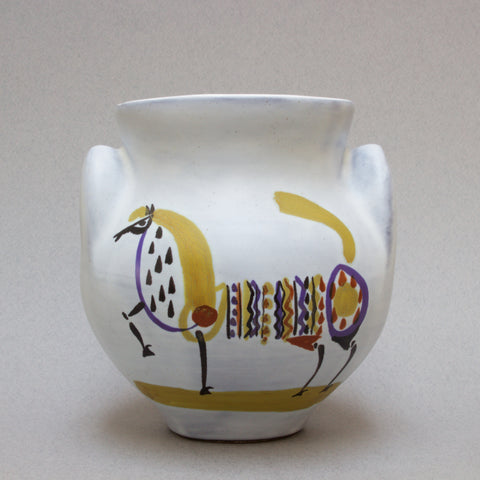 Rare Ceramic 'Eared' Vase (Vase à Oreilles) with Horse by Roger Capron (1950s)