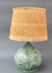Ceramic Table Lamp by Jacques Blin with Raffia Lampshade (circa 1950s) - Green