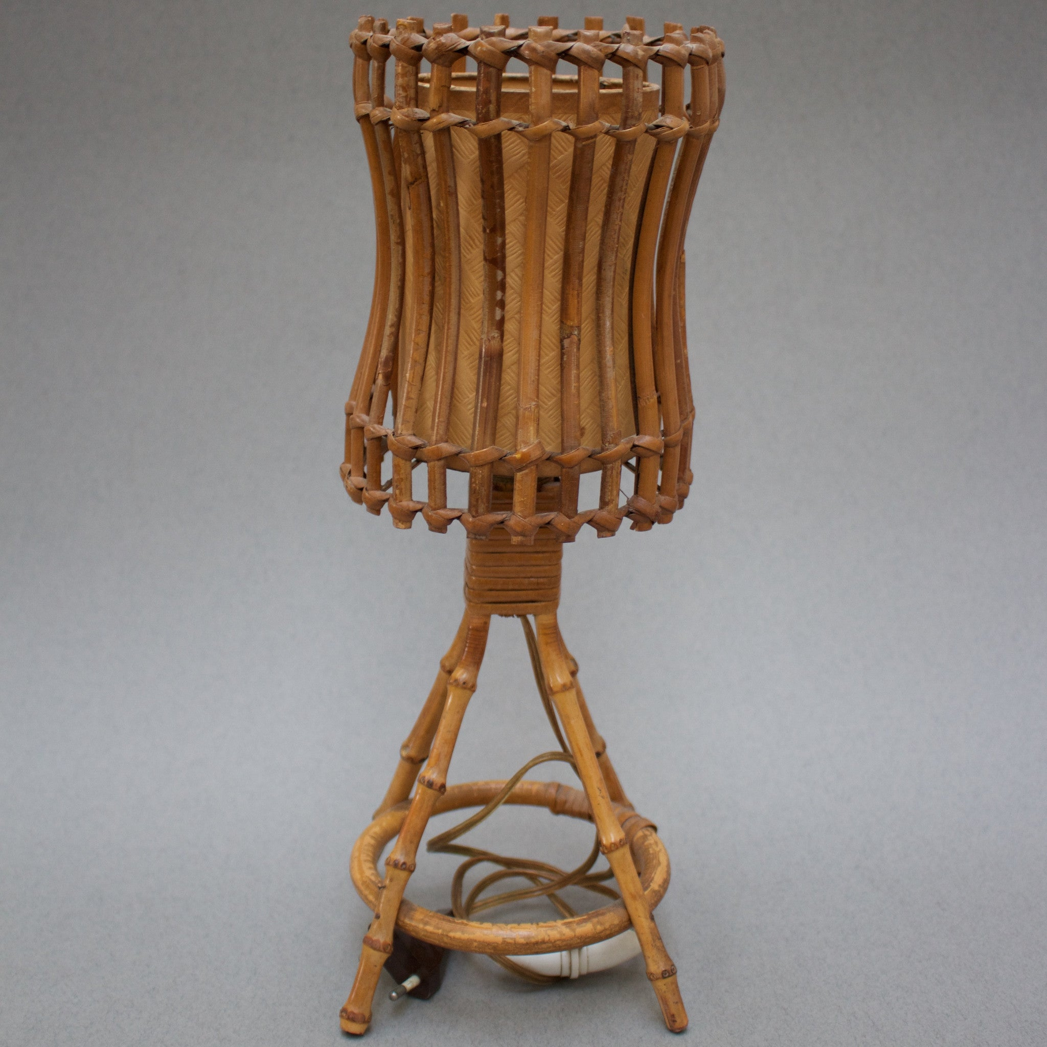 French Mid-Century Bamboo-Rattan Table Lamp (c. 1960s)