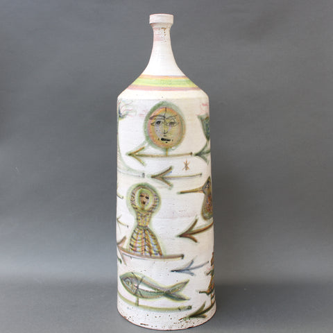 Decorative French Ceramic Bottle-Shaped Vase by David Sol (circa 1950s)