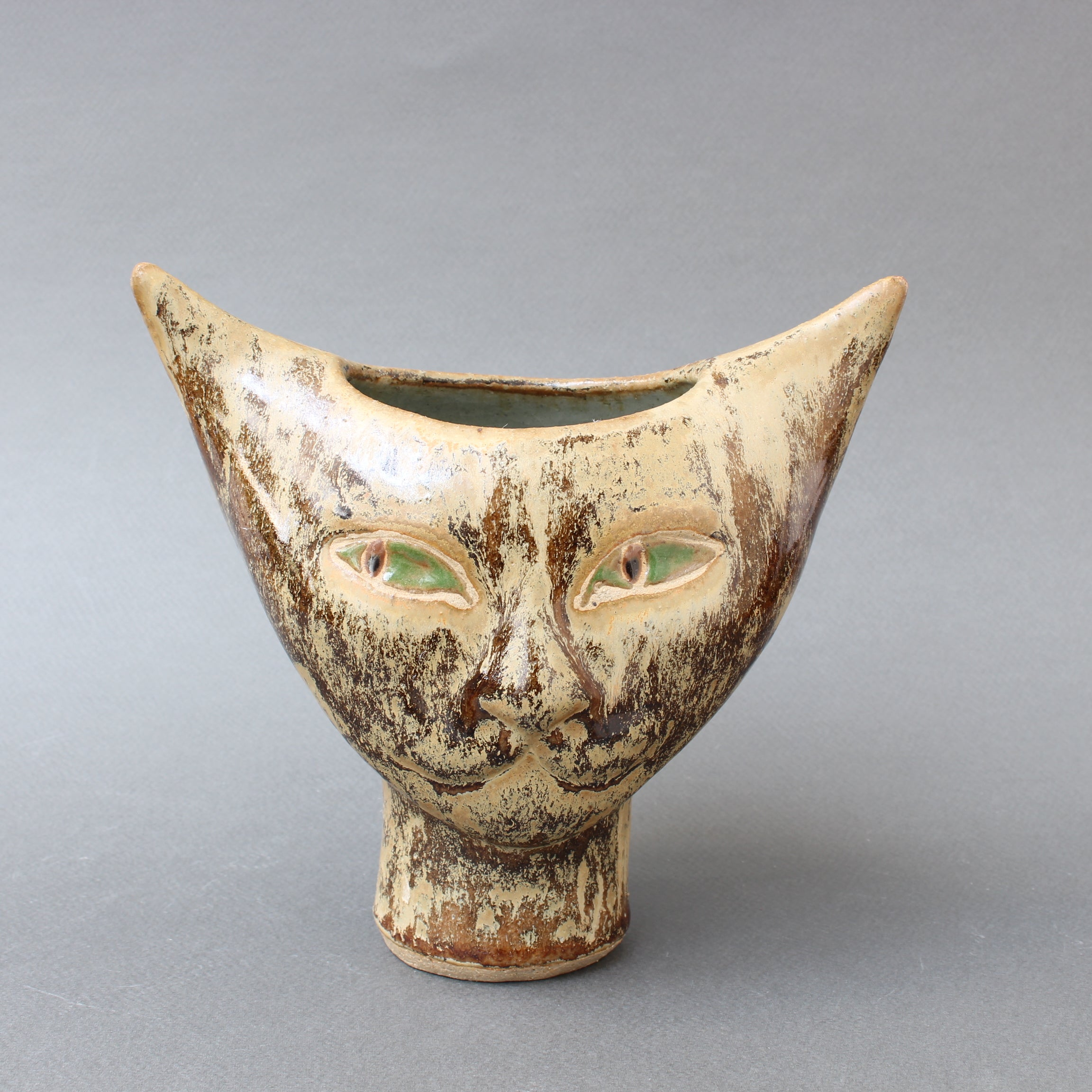 Mid-Century French Ceramic Cat Vase (circa 1960s)