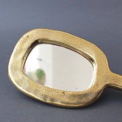 Ceramic Oval Shaped Hand Mirror by François Lembo (circa 1960s)
