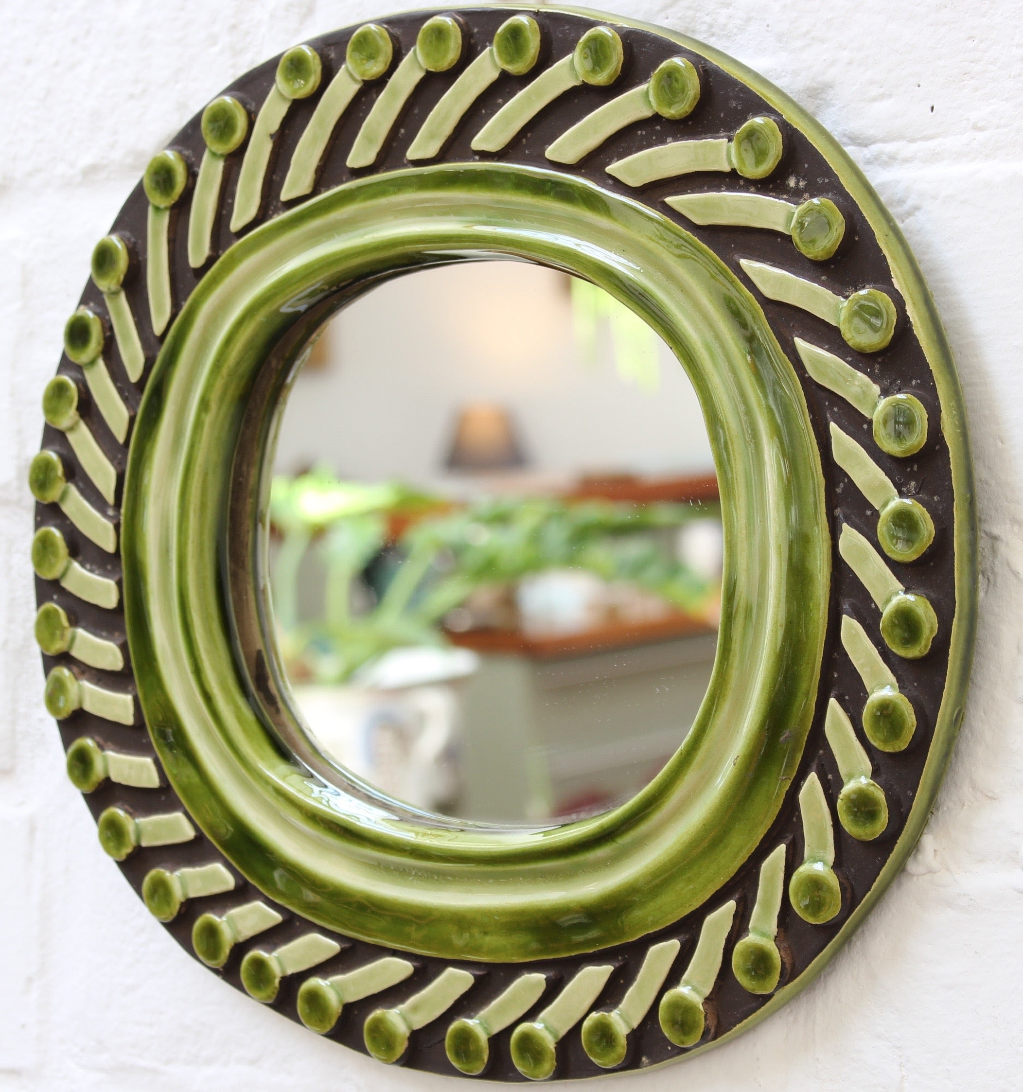 Decorative Ceramic Wall Mirror by François Lembo (circa 1960s)