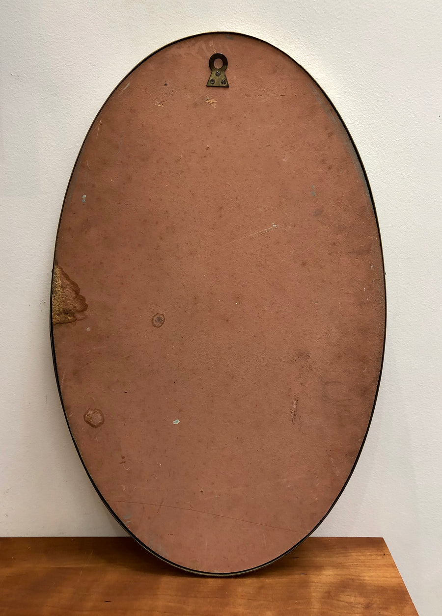 Mid-Century Oval-Shaped Italian Wall Mirror with Brass Frame (circa 1950s)