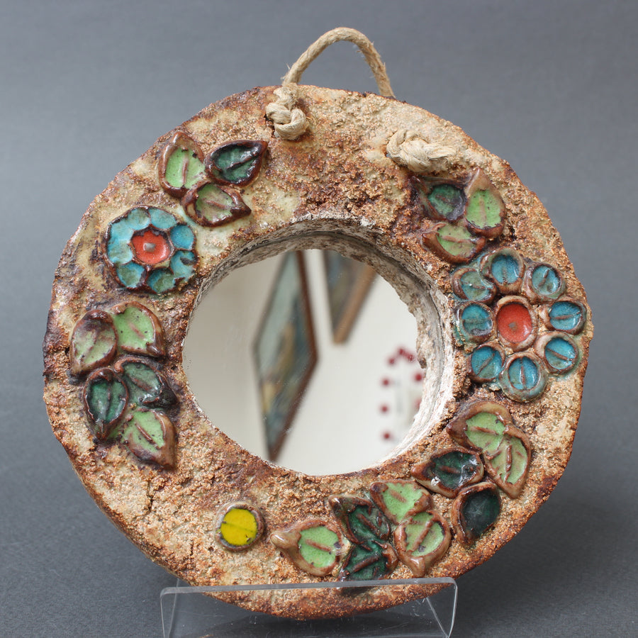 Ceramic Flower Motif Wall Mirror by La Roue, Vallauris (circa 1960s) - Small