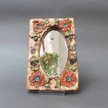 Ceramic Flower-Motif Wall Mirror by La Roue, Vallauris, France (circa 1960s)