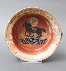 French Decorative Ceramic Bowl with Horse Motif (circa 1950s)